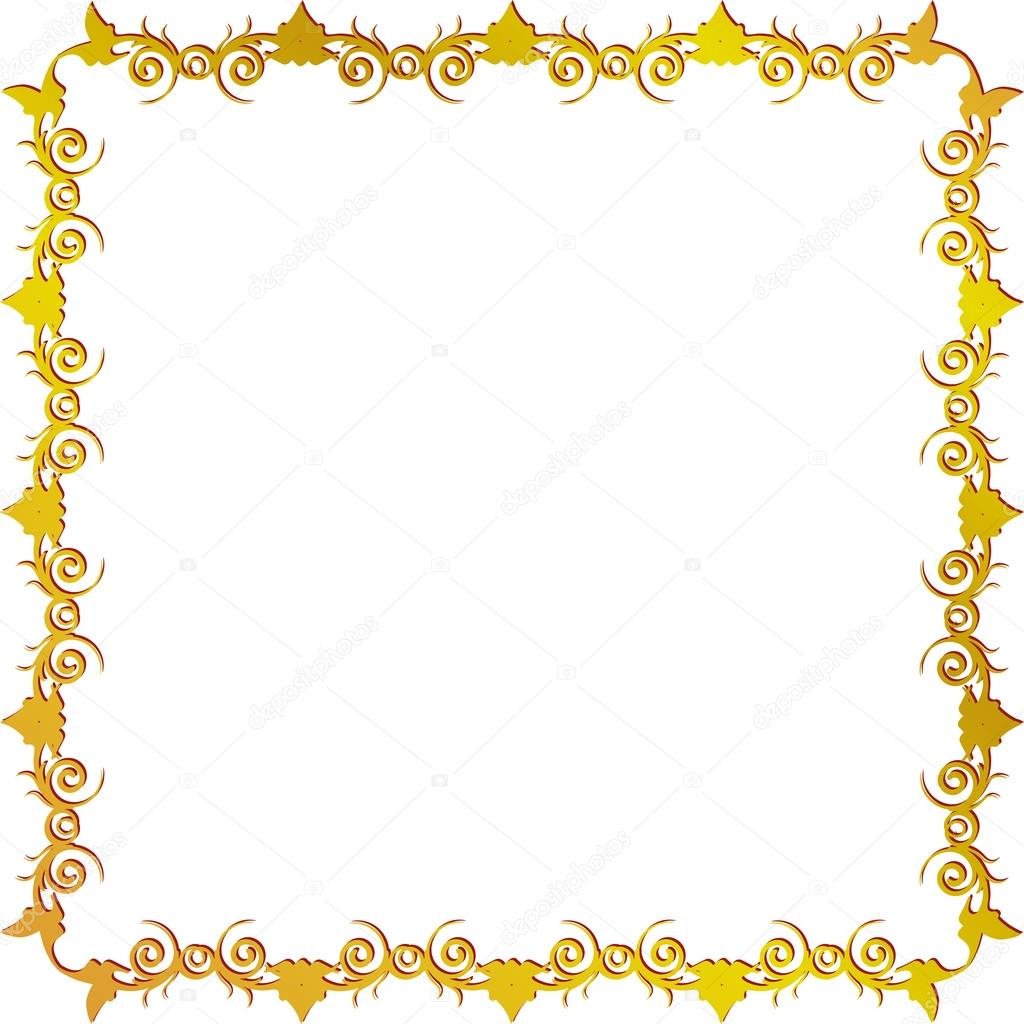 marco floral dorado — Vector de stock © panambapro #17673143