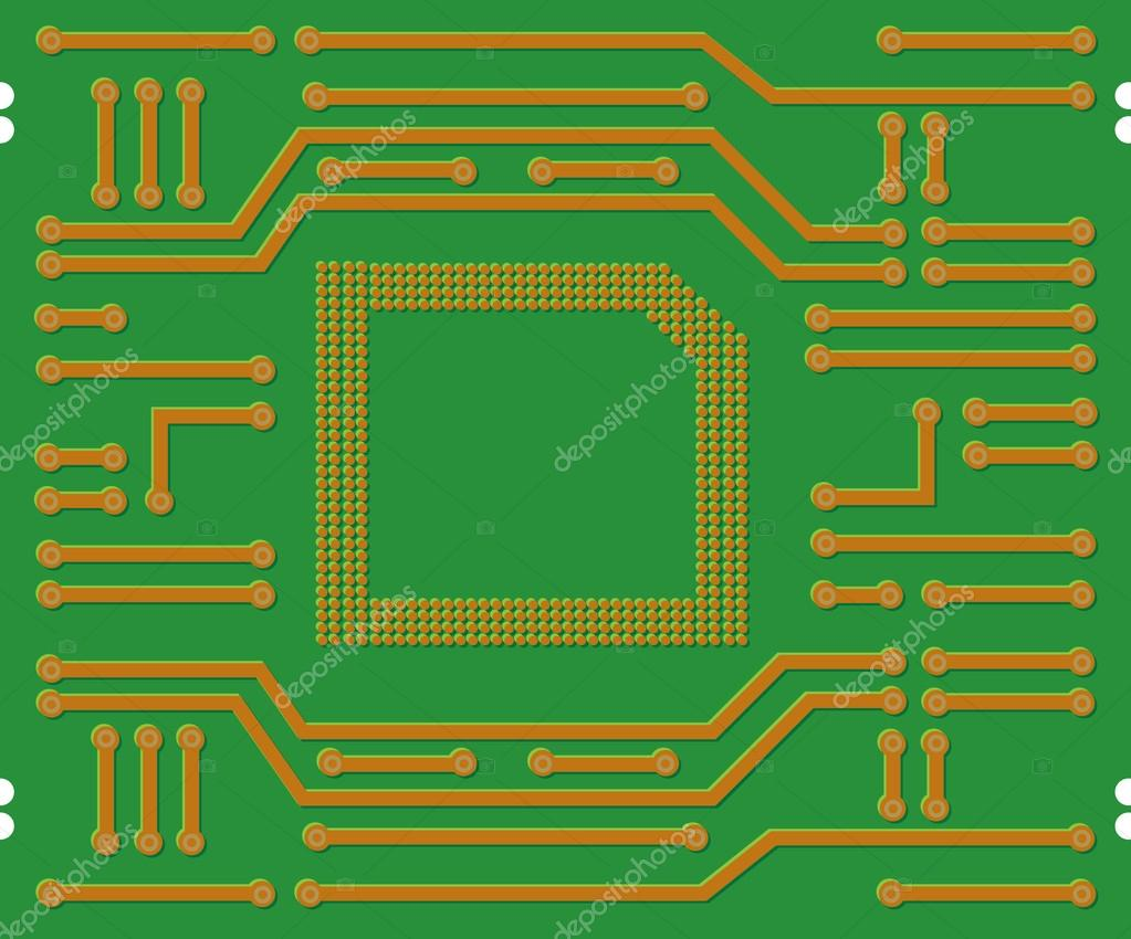 Printed Circuit Board Stock Vector Panambapro 20418469 Of Illustration A Green With Background By