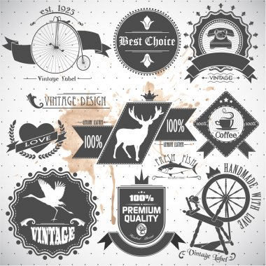 Set of vintage labels and stamps