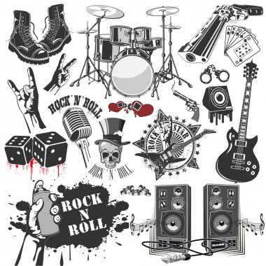 Set of vector symbols related to rock and roll stock vector