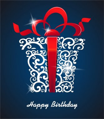 Greeting card Happy Birthday. with gift box and place for your text. vector
