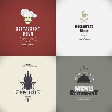 Set of sketches for the restaurant menu. Vector illustration