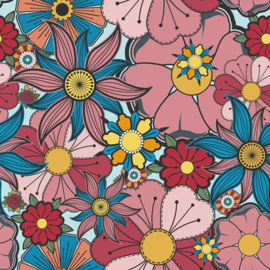 Seamless background with bright flowers.