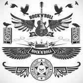 Rock n  Roll-készlet szimbólumok szárnyakkal