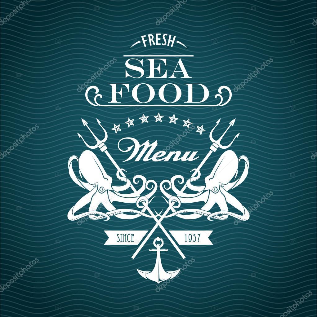 Sketch for a restaurant menu. Sea food.