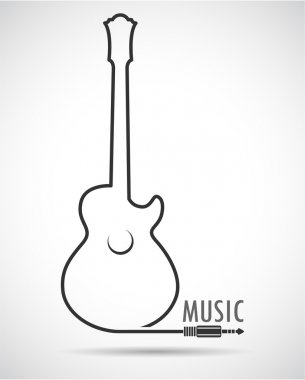 Background with guitar. Vector.