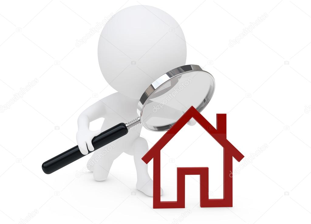 personnage humaunoid 3d et un symbole de la maison rouge photographie pixelfeger 28543421. Black Bedroom Furniture Sets. Home Design Ideas