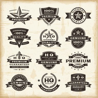 A set of fully editable vintage premium quality labels in woodcut style. EPS10 vector illustration. clip art vector