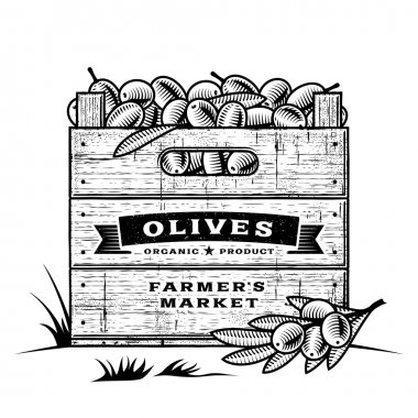 Retro crate of olives black and white