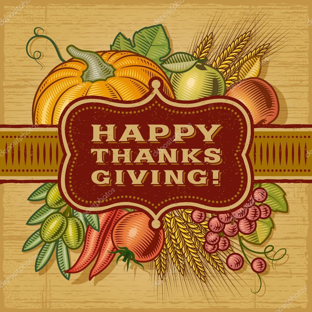 Happy Thanksgiving Retro Card