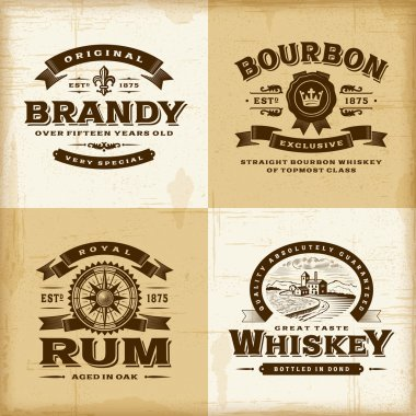 Vintage alcohol labels set
