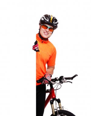 Cyclist holding the vertical blank