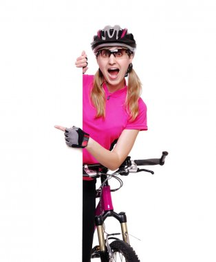 Cyclist girl holding the vertical blank board