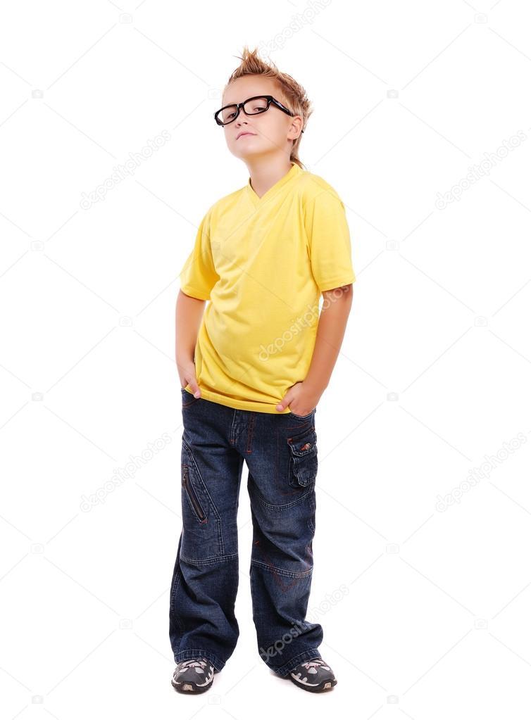 Stylish boy in yellow tshirt over white background