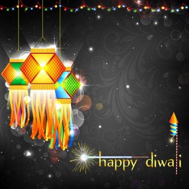 Illustration of hanging lantern with firework in diwali night stock vector