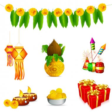 Illustration of holy object and decoration for Indian festival stock vector