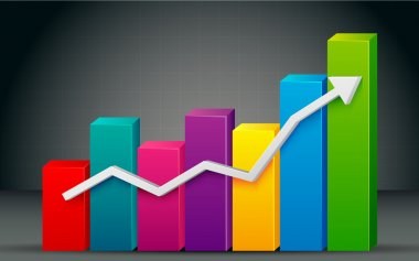 Illustration of colorful bar graph with rising arrow stock vector