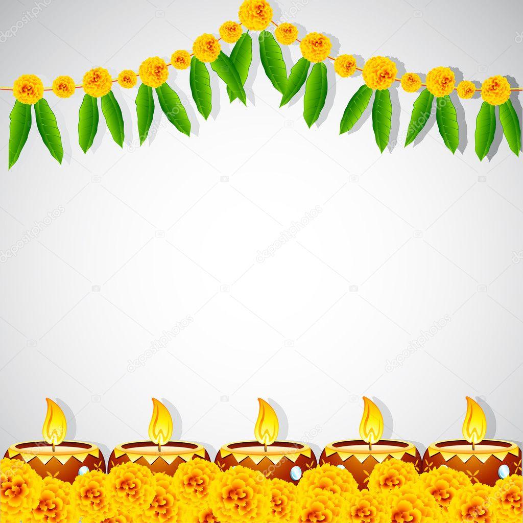 Decorated Diya — Stock Vector © vectomart #13262711 for Flower Rangoli Vector  146hul