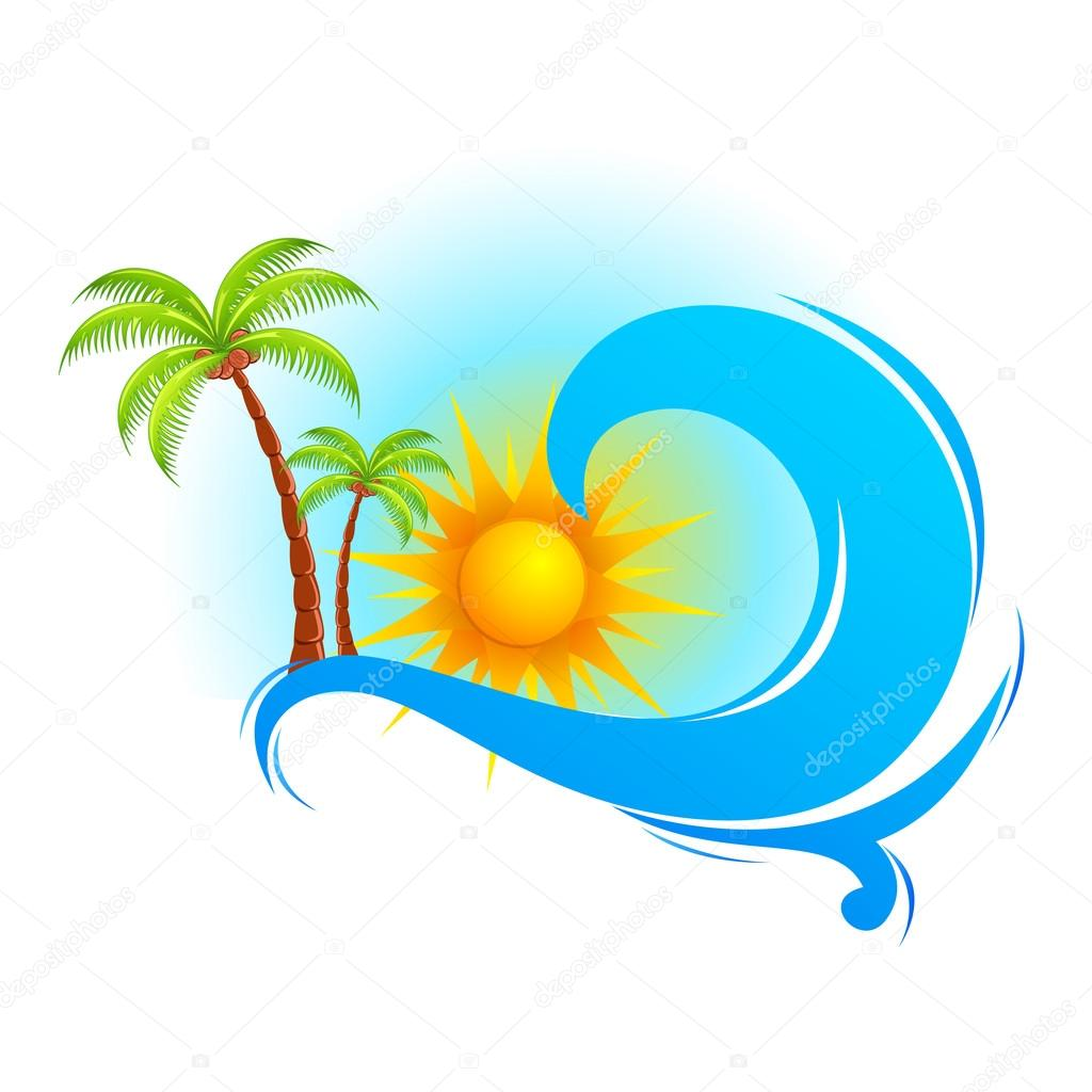 Sea Wave with Palm Tree