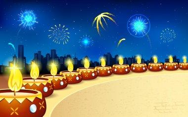 Illustration of burning decorated diya in Diwali night stock vector