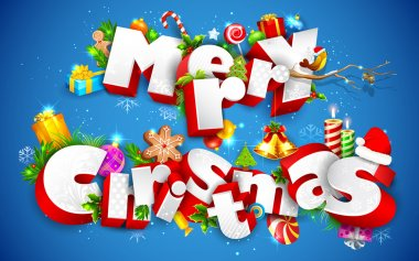 Illustration of Merry Christmas text with other element stock vector