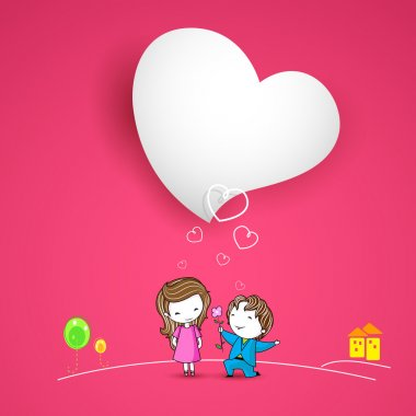 Illustration of man proposing lady on Love background stock vector
