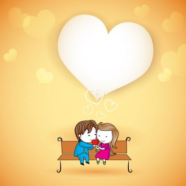 Illustration of happy loving couple on love background stock vector