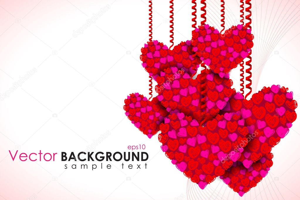 Illustration of heart hanging on love background clipart vector