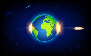 Illustration of fiery bullet penetrating Earth stock vector