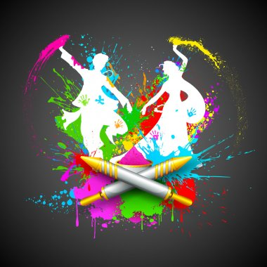 Illustration of couple playing Holi with color and pichkari stock vector