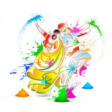 Illustration of couple playing Holi with color stock vector