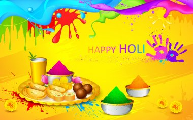 Illustration of happy Holi wallpaper with colors and sweet stock vector