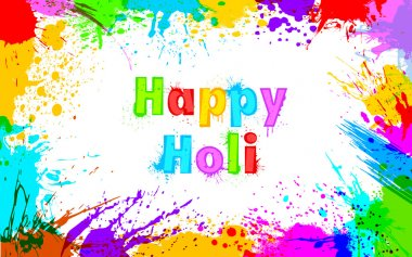 Illustration of colorful grunge frame for Holi background stock vector