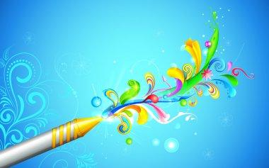 Illustration of colorful floral swirl around Holi pichkari stock vector