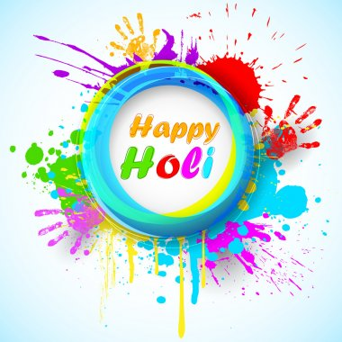 Illustration of holi background with hand print and colorful grunge stock vector