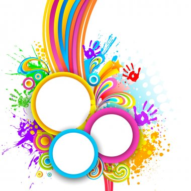 Illustration of holi background with hand print and colorful splash stock vector
