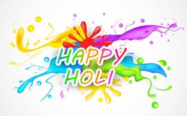 Illustration of colorful color splash in Holi background stock vector