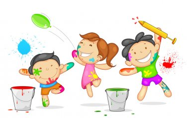 Illustration of kids playing holi with color and pichkari stock vector