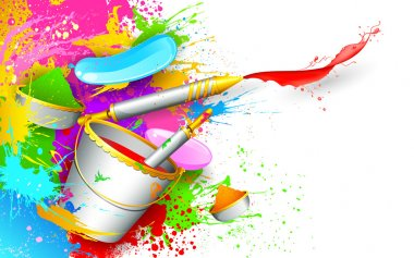 Illustration of colorful spalsh with bucket full of color and pichkari in Holi background stock vector