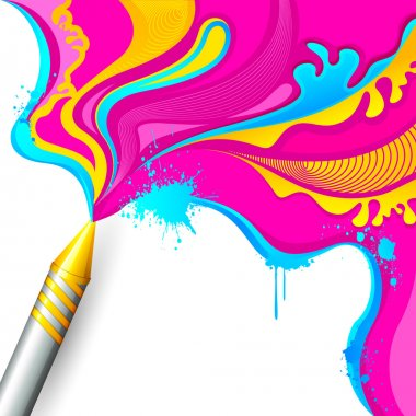 Illustration of colorful splash coming out from pichkari in Holi background stock vector
