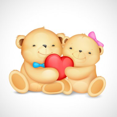 Teddy Bear Couple hugging heart