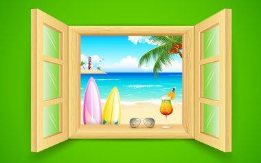 Illustration of sea beach view from window clip art vector