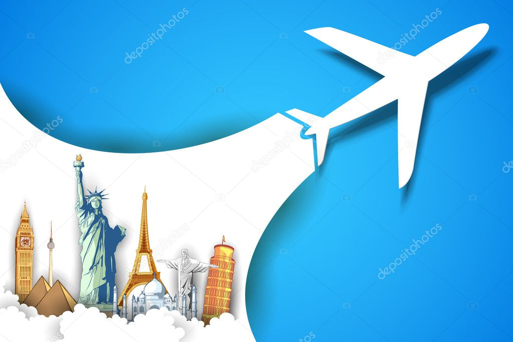 Airplane Taking in Travel Background