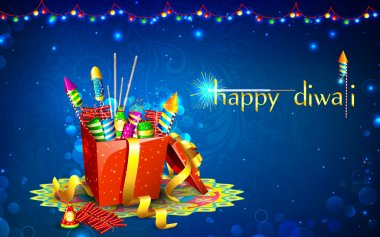 Illustration of colorful firecracker in gift box for Diwali stock vector