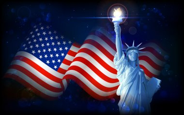Illustration of Statue of Liberty on American flag background for Independence Day stock vector