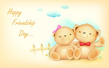 Illustration of cute couple of teddy bear waving hand clip art vector