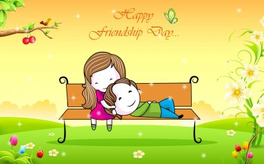 Illustration of friends in park bench on Friendship Day clip art vector