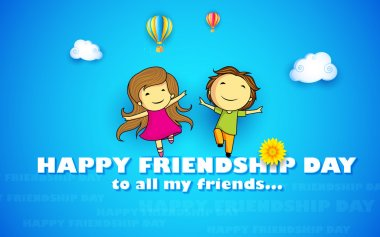 Illustration of friends enjoying Happy Friendship Day clip art vector