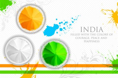 Illustration of gulal in tricolor of Indian flag stock vector