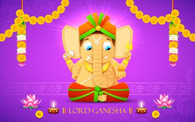 Illustration of statue of Lord Ganesha made of paper for Ganesh Chaturthi stock vector